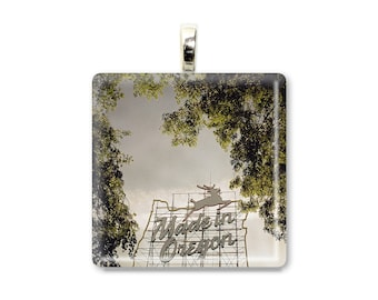Home Made - Glass Tile Photo Pendant - Made in Oregon Sign - Original Photography