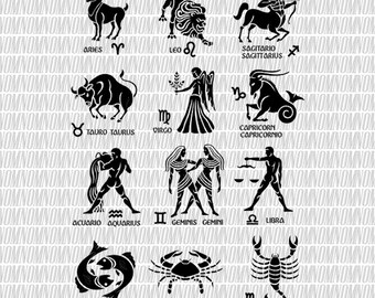 Zodiac Signs SVG, Zodiac Signs, Zodiac SVG, Cancer - Leo - Virgo - Aries, SVG Files for Cut, Svg Bundle, Vector Art, Zodiac Silhouette