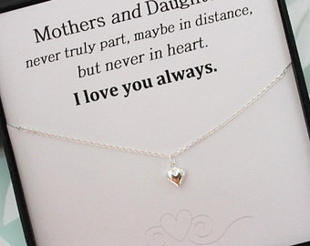 Heart Necklace, Mothers and Daughter necklace, Sterling Silver Heart Necklace, mothers day gift, Gifts for Mom, message jewelry box necklace