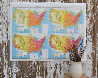 Vintage School Map - Large United States Nystrom America Population US Pulldown Canvas