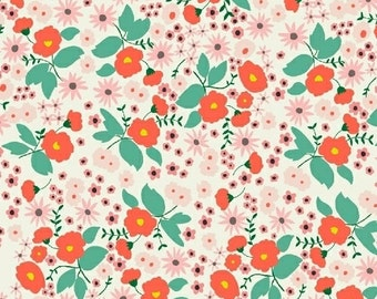 Packed Floral in Ivory from Maribel by Annabel Wrigley- 1/2 yard