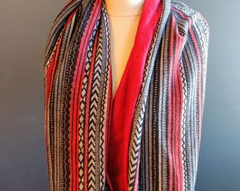 Red Stripe Infinity Scarf