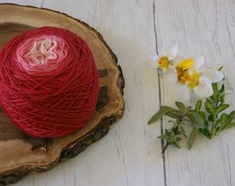 Merino Sock Yarn 100g Gradient Cake - 4ply Pink Gradient - hand dyed