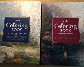 Two Thomas Kinkade Posh Coloring Books Pictures from Original Artist