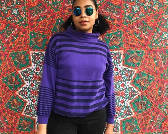 Vintage 90s Purple & Black Mockneck Striped Sweatshirt, Size Small