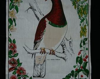 Vintage Linen Tea Towel New Zealand Wood Pidgeon