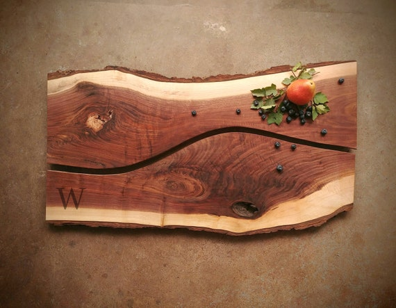 Personalized Live Edge Walnut Cheese Boards