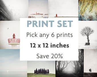 Print Set of 6, Fits IKEA RIBBA, Gallery Wall Art, Save 20%, Set of 6 Prints, Wall Art Print Set, 12x12, Picture Wall
