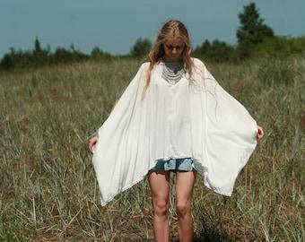 White pompoms square cut blouse, gypsy,boho clothing