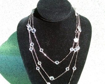 Vintage 1970s Crystal Necklace Lucy Isaacs Sterling Silver 62 Inches