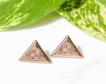 Aztec Style Gold Mini Stud Earrings / Tribal Earrings / Pyramid Studs / Gold Triangle Earrings / Upcycled Jewellery