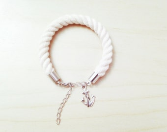 Silver SAILORETTE Nautical Rope Bracelet with Metal Anchor Charm - Beach Wedding Gift - Bridesmaid Gift - Cotton Anniversary Gift