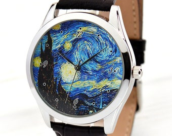 Starry Night Art Watch | Van Gogh Watch | Gift for Her | Art Lover Unique Gift | Women's Watches | Men's Watch | FREE SHIPPING
