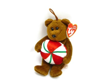 "YUMMY BEANIE BEAR By ""Ty"", Vintage Jingling Ornament, Plush-Fur Animal, Mint New Original Tags, Holiday Christmas Decor, 3 Petunia Place"