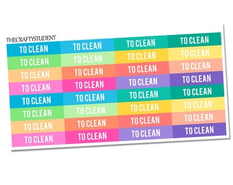 To Clean Headers Planner Stickers, Functional Stickers, Household Stickers, Chores Stickers, Cleaning Stickers
