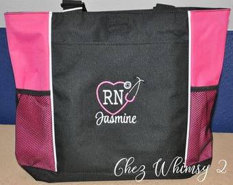 Nurse Tote, Monogrammed Nurse Bag, Stethoscope Monogram, Embroidered RN Tote, RN Monogram, Stethoscope Heart Monogram Tote