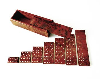 Vintage Wood Dominoes Game, Double Sixes, Burl Wood Handcrafted Birds Eye Rosewood Sliding Lid Rectangle Box w 28 Abalone Inlay Game Pieces