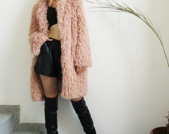 NEW Blush Coat / Dusky Pink Fuzzy Coat / Long Sleeve Fur Coat  by FabraModaStudio / V800