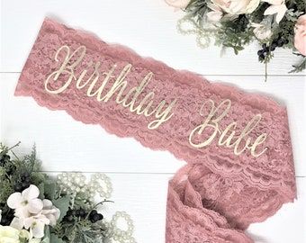 Birthday Sash - Birthday Party - Birthday Party Accessories - Lace Birthday Sash - Birthday Babe