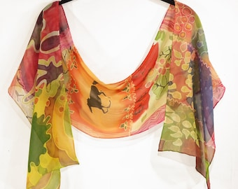 Lovely colorful hand-painted silk chiffon scarf with flowers and running horse motif.