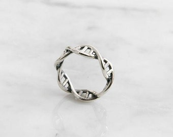 DNA Silver ring, Sterling Silver Ring, Chemistry Ring, Molecule Ring, Infinity Pattern Ring