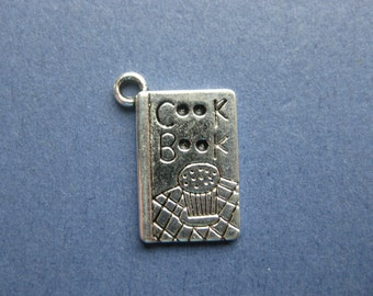 5 Cook Book Charms - Cook Book Pendants - Cook Books - Baking Charm - Cooking Charm - Antique Silver - 20mm x 14mm -- (No.88-10405)