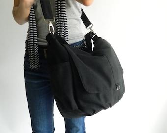 Mothers day - Black messenger diaper bag,Women canvas shoulder bag,cross body bag, back to school, Gift for her / Sale 25 % - no.18 -DANIEL