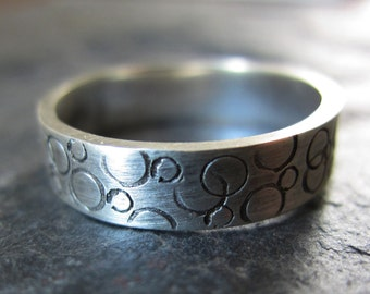 Silver Bubble Ring - handmade silver ring w/ hammered texture