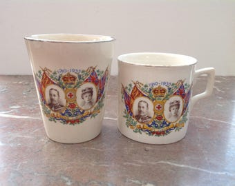 Silver Jubilee Cup and Beaker Set 1935 King George V Queen Mary English Pottery Burslem Ware Royal Memorabilia