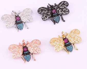 5Pcs Latest design micro pave cz Insect pendant necklace with metal chain