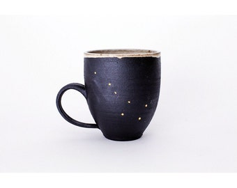 Handmade Black Stoneware 18k Gold Horoscope Constellation Mug