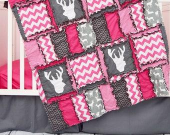 Girl Deer Bedding - Gray / Hot Pink Woodland Nursery Bedding - Baby Girl Nursery - Rustic Baby Bedding - Rag Quilt/ Sheet / Skirt / Bumpers