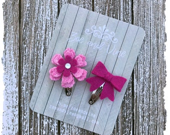 READY TO SHIP, Pink Fuchsia Wool Felt Flower Mini Bow Clip Set, Baby Clips, Infant Girls Adult Mini Snap Clips