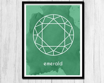 Emerald Print Instant Download Gift for May Birthday Emerald Art Birthstone Art Birthstone Print Digital Download May Printable