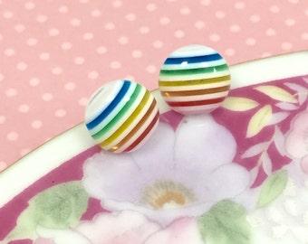 Rainbow Stripes Earrings, Rainbow Stud Earrings, Colorful Striped Studs, Small Ear Studs, Stainless Steel Studs, Cute Studs (SE4)