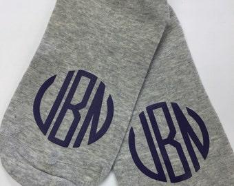 Womens Monogrammed Socks/ Ankle Socks/ Monogram Socks/ Gift for Her/ Free Shipping