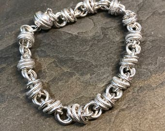 "7.25"", vintage sterling silver bracelet, fine 925 silver circle links, stamped Milor Italy 925"