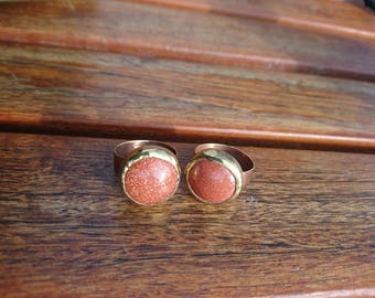 Brass with round Brown Goldstone cabochon brass ring re-purposed, recycled, up-cycled Brass