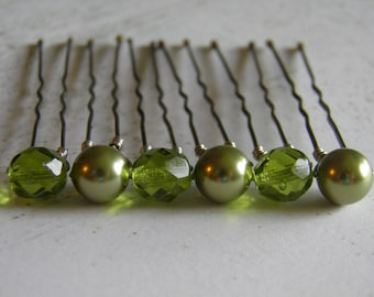 6 Light Green 8mm Swarovski Pearls and Czech Crystals Hair Pins