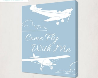 Vintage Airplane Canvas // Boy's Plane Antique Style Nursery Art // Come Fly With Me Canvas // blue and white or custom colors