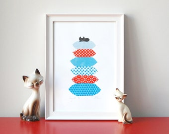 Cosy Cat - A4 - 3 colour screenprint