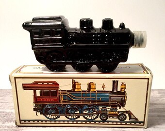 Vintage Train Avon Bottle Cannonball Express 4-6-0 Wild Country Men's Aftershave, Decorative Bottles, Steam Train, Steampunk, Original BOX