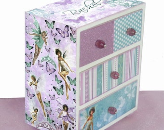 Girls Jewelry Box Personalized Fairy Dust Lavender and Aqua