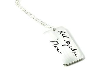 Silver Memorial Jewelry Actual Handwriting Larger Rectangle Pendant