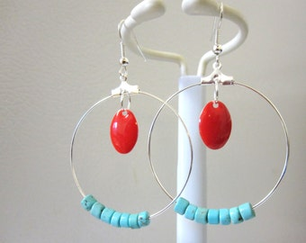 Hoop Earrings Red Enamel Turquoise Blue