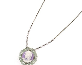 cameo & rosary chain necklace, vintage cameo necklace, cameo and pearls, long cameo necklace, purple and green necklace, cameo jewelry