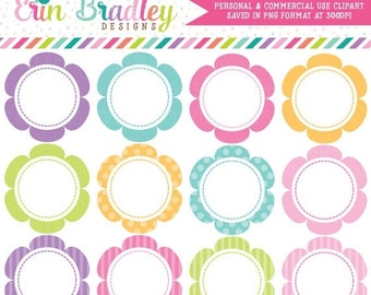 80% OFF SALE Flower Frames Clipart Graphics Commercial Use Scalloped Circles Clip Art