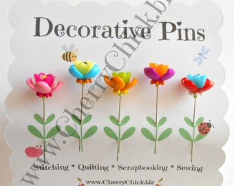 Sewing Pins - Flower Pins - Gift for Quilters - Decorative Sewing Pins - Pretty Pins - Scrapbooking Pins - Quilting Pins -  Pincushion Pins
