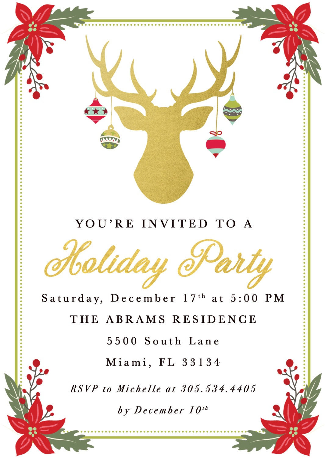 Christmas Party Invitation, Reindeer Christmas Party Invitation ...