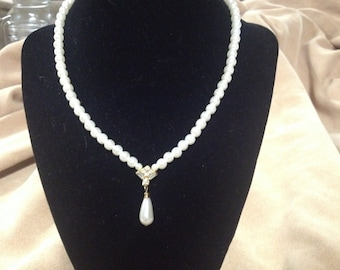 Vintage Faux Pearl Beaded Necklace with Teardrop Pendant, Length 15.5''